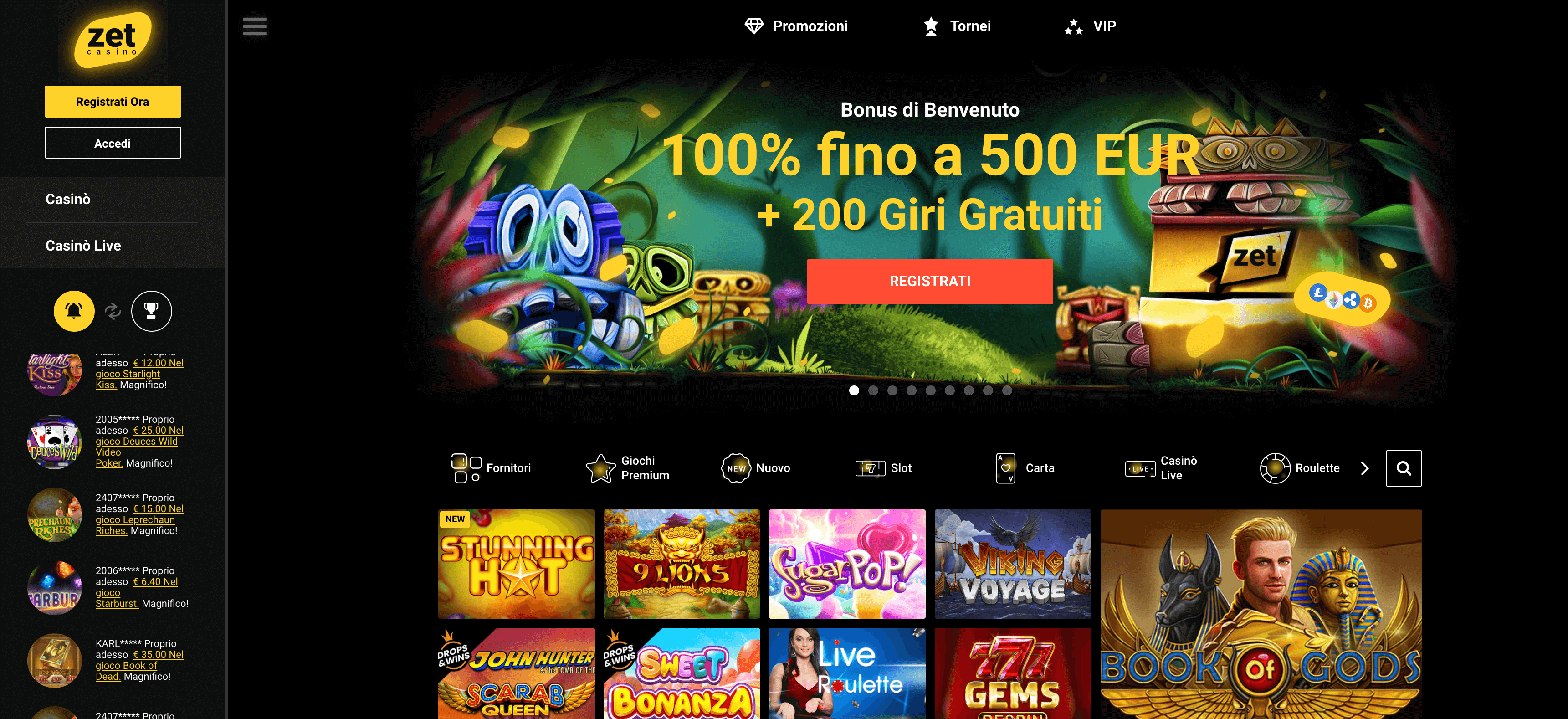 Zet Casino Home Page